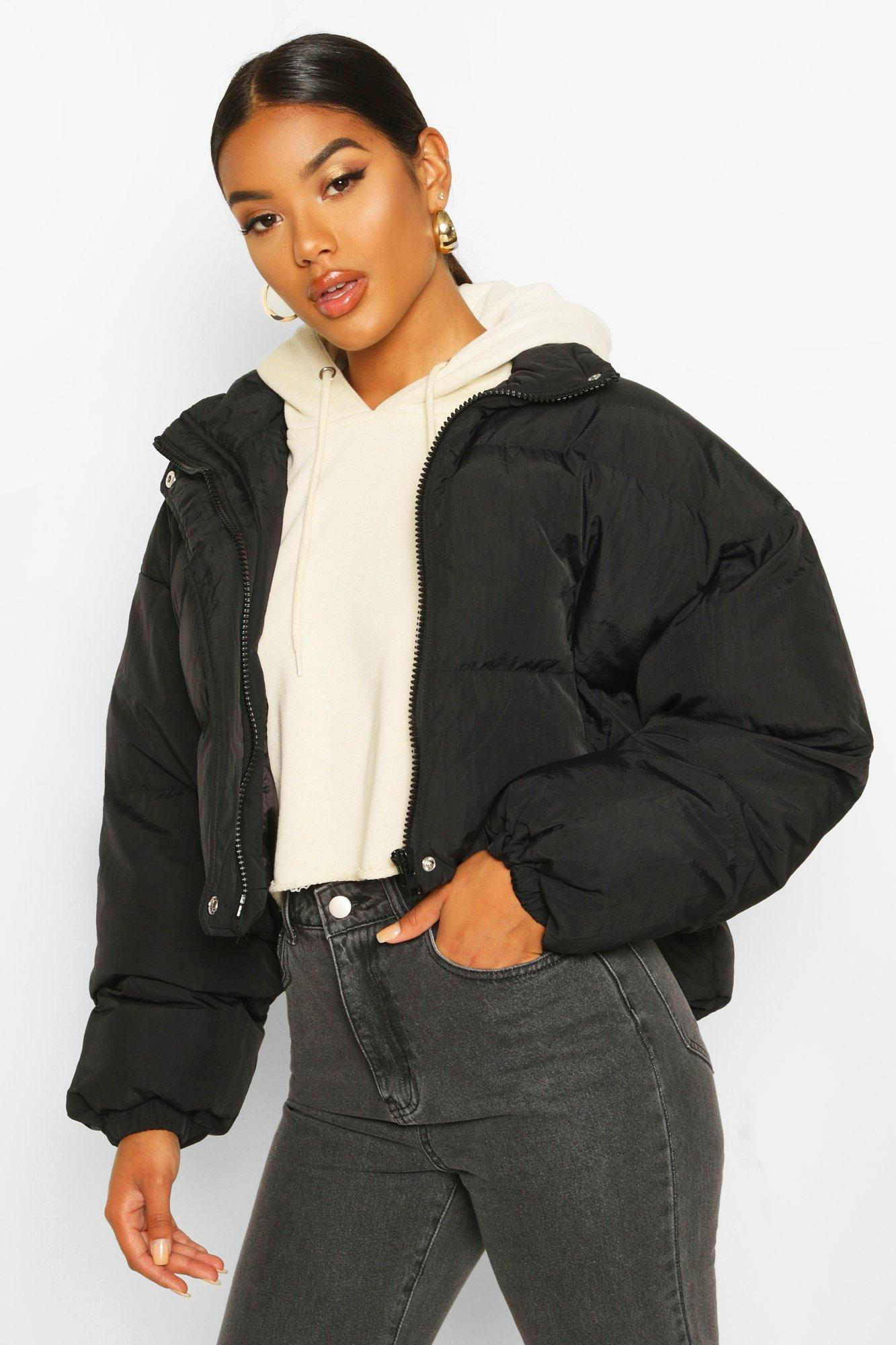 Funnel Neck Cropped Puffer Jacket | boohoo