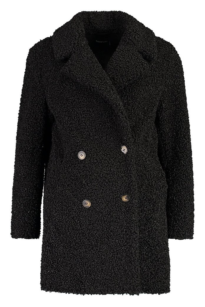 Double Breasted Bonded Faux Fur Teddy Coat | boohoo