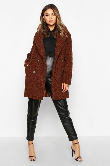 Chocolate brown Double Breasted Bonded Faux Fur Teddy Coat