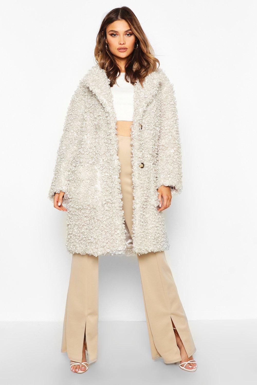 Premium Teddy Faux Fur Longline Coat