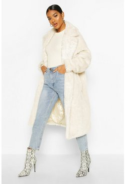 Cream white Oversized Teddy Faux Fur Coat