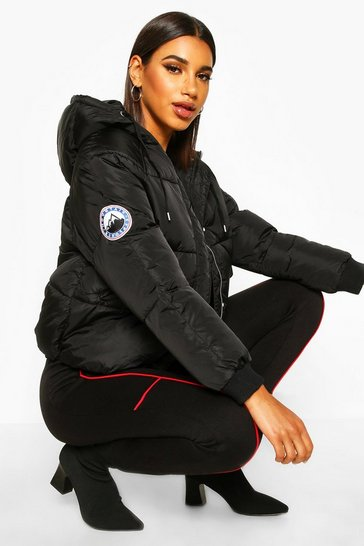 Black Hooded Quilted Puffer