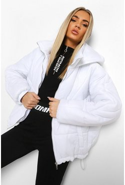 White Hooded Quilt Detail Puffer
