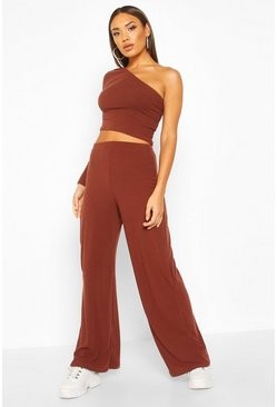 Chocolate brown One Shoulder Ribbed Top & Trouser Co-Ord