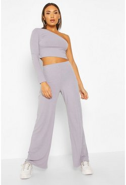 Grey One Shoulder Ribbed Top & Trouser Co-Ord