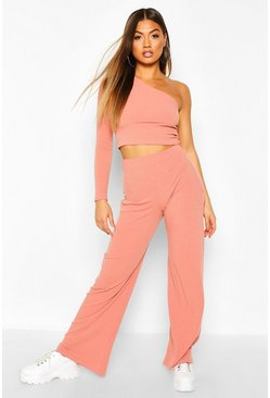 Rose pink One Shoulder Ribbed Top & Trouser Co-Ord