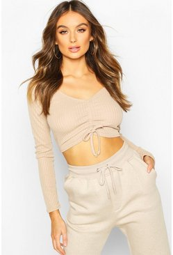 Stone beige Ribbed Ruched Crop Top