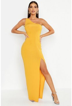 Mustard yellow Ribbed One Shoulder Maxi Dress