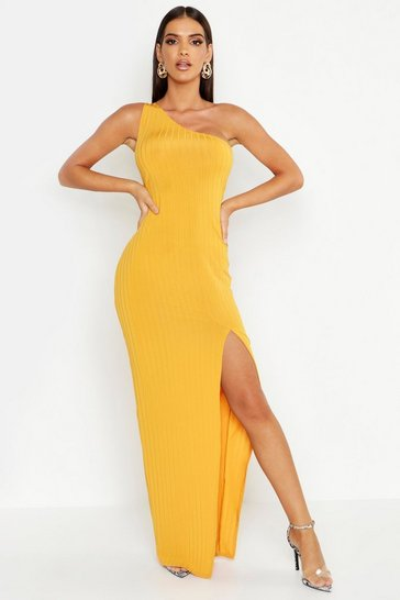 Mustard Ribbed One Shoulder Maxi Dress