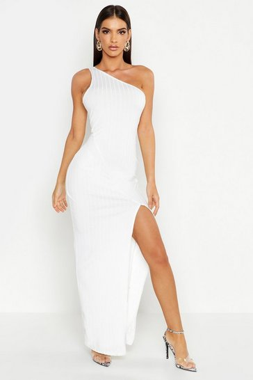 White Ribbed One Shoulder Maxi Dress