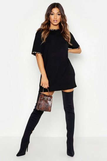 Black Leopard Print Contrast Trim T-Shirt Dress