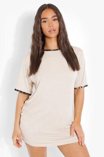 Stone beige Leopard Print Contrast Trim T-Shirt Dress