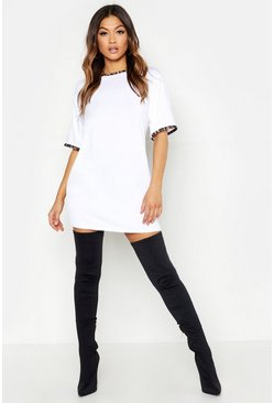 White Leopard Print Contrast Trim T-Shirt Dress