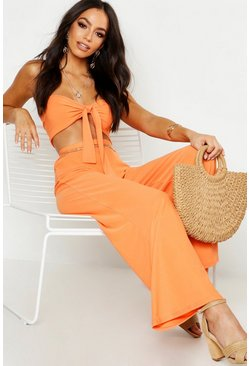 Orange Tie Front Bralet & Wide Leg Trouser Co-ord Set