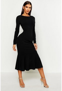 Black Fishtail Long Sleeve Midaxi Dress