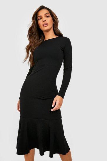 Black Fishtail Long Sleeve Midaxi Dress