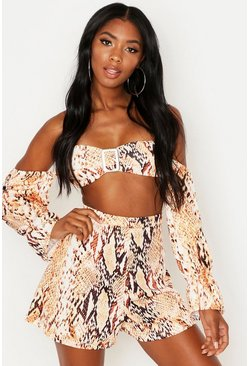 Brown Snake Tortoise Shell Buckle Top And Short Co-Ord