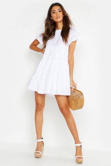 White Embroidered Smock Playsuit