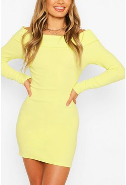 Washed lime yellow Scuba Rib Double Layer Bardot Mini Dress
