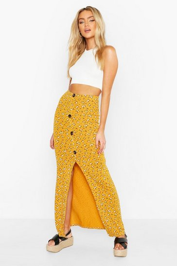 Mustard yellow Floral Ditsy Button Through Skirt