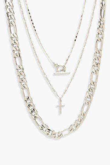 Silver Chunky Chain & T-Bar Layered Necklace