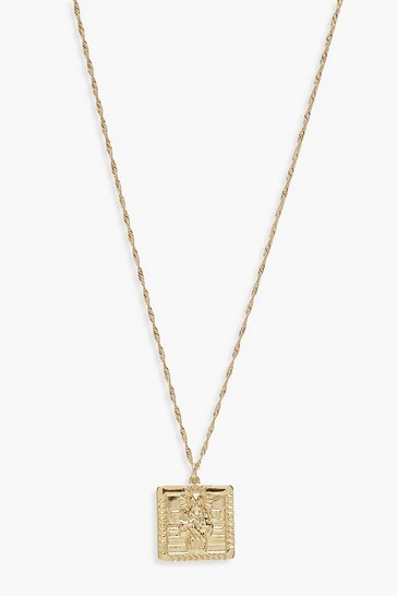 Gold metallic Square Sovereign Necklace