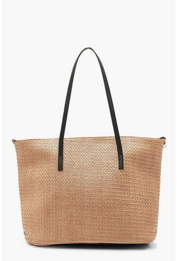 Natural beige Straw PU Handle Beach Bag