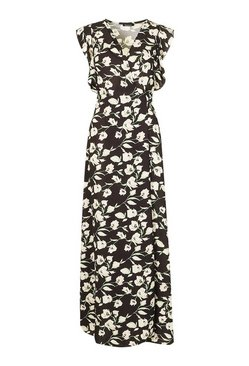 Black Floral Woven Ruffle Sleeve Wrap Maxi Dress