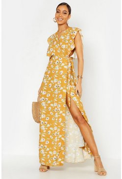 Mustard yellow Floral Woven Ruffle Sleeve Wrap Maxi Dress