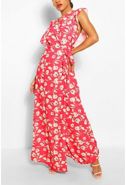 Red Floral Woven Ruffle Sleeve Wrap Maxi Dress