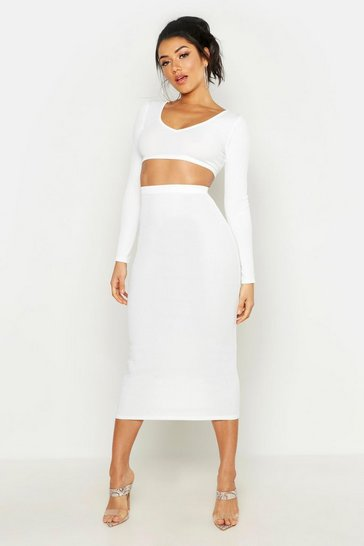 Ivory white Long Sleeve Crop & Midaxi Skirt Rib Co-Ord Set
