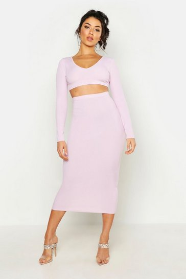 Lilac purple Long Sleeve Crop & Midaxi Skirt Rib Co-Ord Set