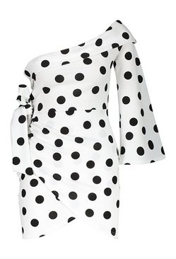 White Spot Print One Shoulder Wrap Dress