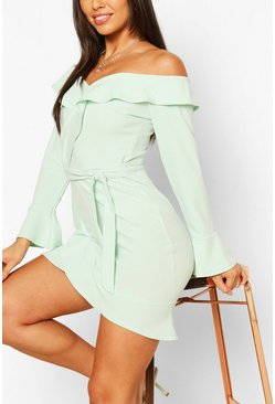 Mint green Off The Shoulder Ruffle Tie Waist Skater Dress