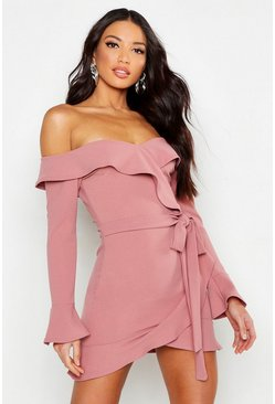 Pink Off The Shoulder Ruffle Tie Waist Skater Dress