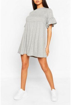 Grey marl grey Frill Sleeve Smock Dress