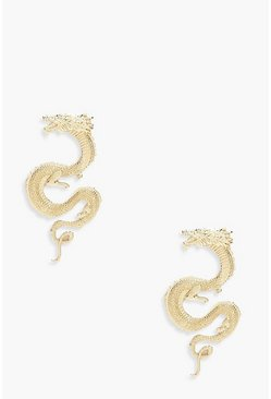 Gold metallic Dragon Statement Earrings