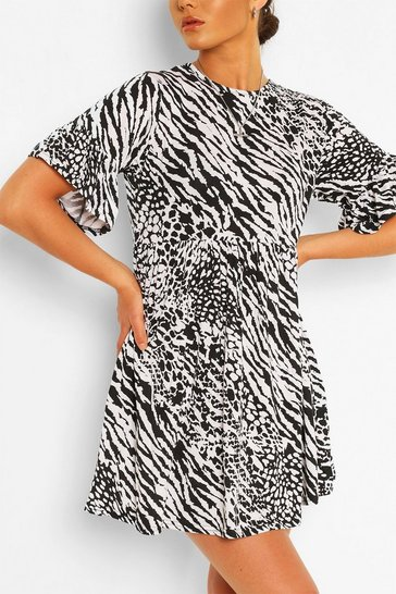 Multi Animal Print Smock Dress