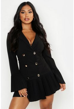 Black Pleated Frill Hem Blazer Dress