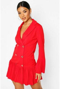 Red Pleated Frill Hem Blazer Dress