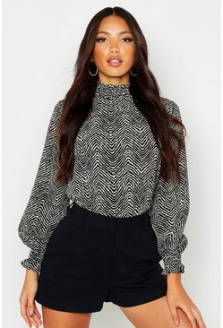 Stone Zebra Print High Neck Blouse