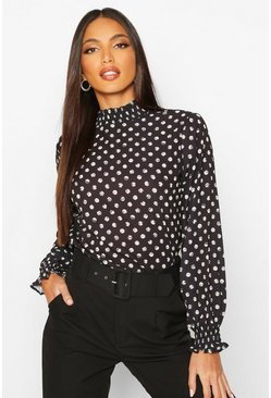 Black Polka Dot High Neck Blouse