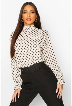 Ivory white Polka Dot High Neck Blouse