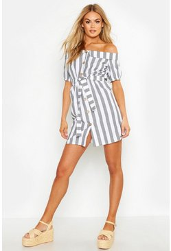 Grey Off The Shoulder Belted Linen Stripe Dress