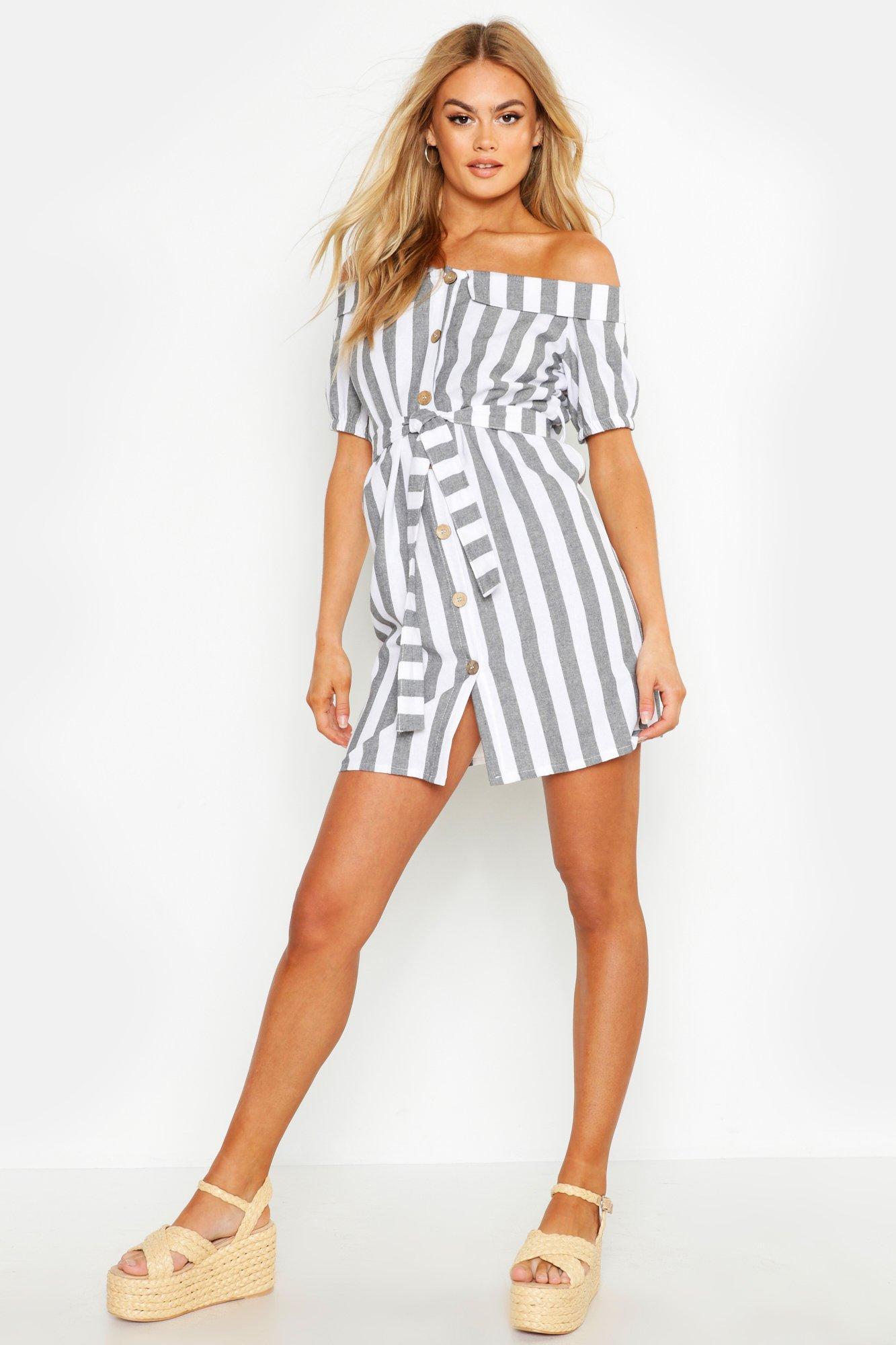 SALE Off The Shoulder Belted Linen Stripe Dress