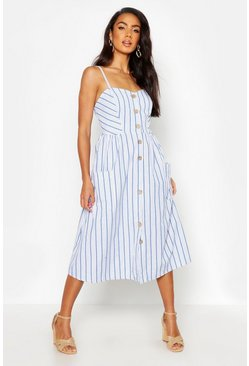 Blue Stripe Button Through Linen Midi Dress