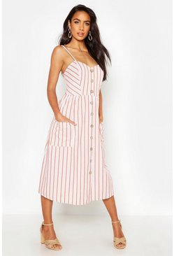 Rust orange Stripe Button Through Linen Midi Dress
