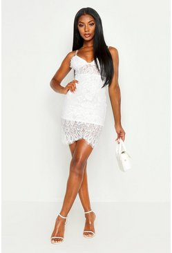 Ivory white Strappy Lace Midi Bodycon Dress