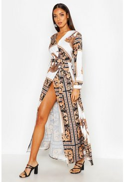 Black Statement Animal Scarf Maxi Dress