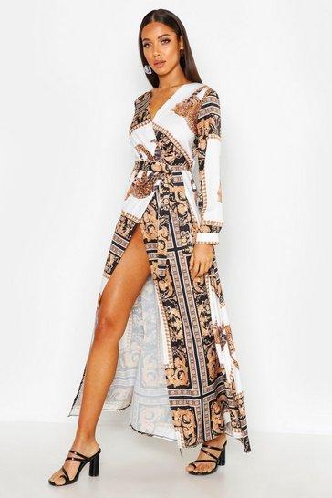 Black Statement Animal Scarf Maxi Dress